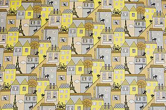 Textil - Bavlnená látka domy žlto hnedé - 5640372_