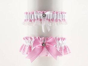 Bielizeň/Plavky - set podväzok růžový saténový s čipkou pre nevestu  01C - 5641804_