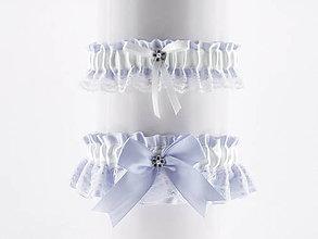Bielizeň/Plavky - set podväzok modrý saténový s čipkou pre nevestu  01C - 5641826_