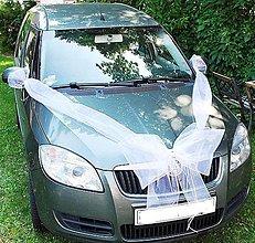Dekorácie - výzdoba auta na svadbu - veľká mašľa - 5640538_