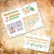 Papiernictvo - Zvieracia svadba - svadobné oznámenie a svadobné pozvánky (sloníky) - 5642120_