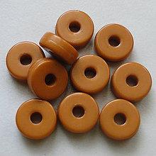 Korálky - Rondelka plast 8x3mm-žltohnedá-10ks - 5646975_