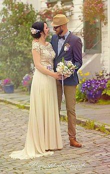 Šaty - Spoločenské šaty z hrubej krajky a kruhovou šifónovou sukňou - 5645567_