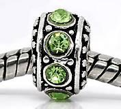 Pandorková korálka so zelenými štrasovými očkami