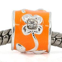 Korálky - Pandorková korálka oranžová s kvietkami a štrasovými kamienkami - 5645820_
