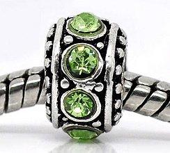 Korálky - Pandorková korálka so zelenými štrasovými očkami - 5645833_