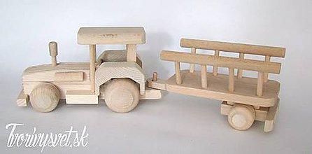 Hračky - Drevený traktor s vlečkou - 5646292_