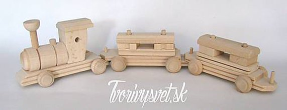 Polotovary - Drevený vláčik s vagónikmi - 5646312_