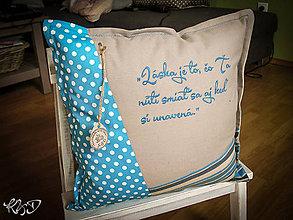 Úžitkový textil - Vankúšik s motivačným textom tyrkysový - 5649326_