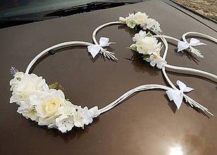 Dekorácie - Ozdoba na auto srdcia krémovo-biele - 5648885_
