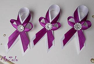 Pierka - purpurová & biela / malé / - 5649181_