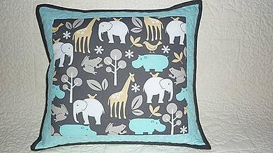 Textil - Obliečka na detský vankúšik - dva varianty (TYRKYSOVÉ ZVIERATKÁ) - 5647654_