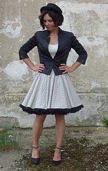 Sukne - FuFu sukně béžový puntík s černou spodničkou - 5652114_