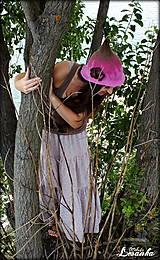 Čiapky - ♥ Elfský klobúčik - hnedá fuchsia ♥ - 5651619_