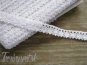 Galantéria - Čipka biela ovalčekový lem 1,2cm x 18,3 m - 5650589_