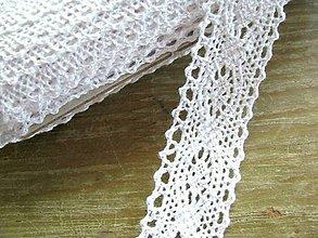 Galantéria - Čipka zo 100% bavlny, 3cm x 18,3 m- biela - 5653095_