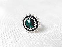 Prstene - Emerald blossom ring (Swarovski crystal / Rhodium ring) - 5654113_