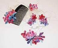 masked flowers 2 -Náušnice , náhrdelník, hrebienok