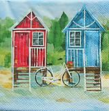- S397 - Servítky - domčeky, bicykel - 5656991_