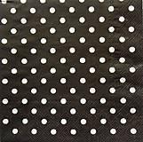 - S416 - Servítky - bodky, dots, čierna - 5657180_