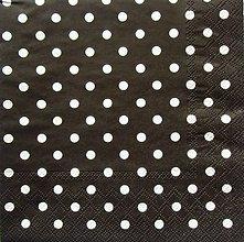 Papier - S416 - Servítky - bodky, dots, čierna - 5657180_