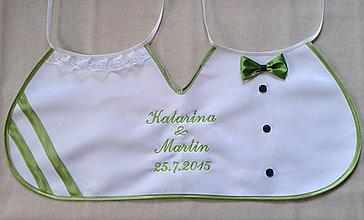 Iné doplnky - Dvojitý svadobný podbradník Ona a on maxi zelený s výšivkou - 5655838_