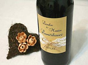 Darčeky pre svadobčanov - Etiketa na fľašu VINTAGE - 5654058_
