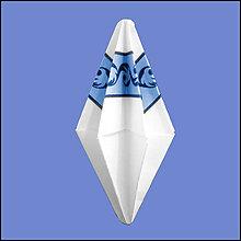 Dekorácie - Vianočný špic s čipkou/pruhom modrý NA ZÁKAZKU - 5654190_