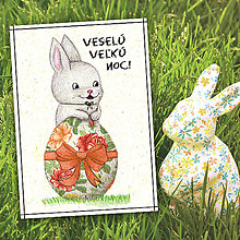Papiernictvo - Veľkonočná pohľadnica Zajačik a vajíčko - 5656292_
