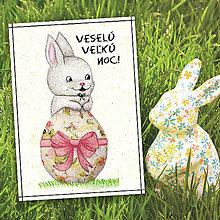 Papiernictvo - Veľkonočná pohľadnica Zajačik a vajíčko 22 - 5656314_