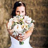Kytice pre nevestu - Romantická svadobná kytica s pivonkami - 5658082_