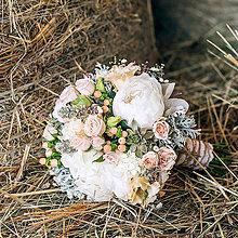 Kytice pre nevestu - Romantická svadobná kytica s pivonkami - 5658083_