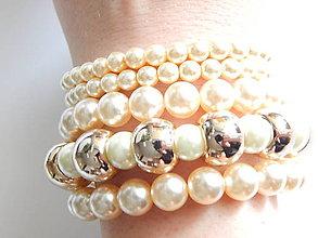 Náramky - elastický náramok Peals and Gold - 5658588_