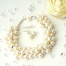 Sady šperkov - Smotanový svadobný náramok s náuškami - 5659807_