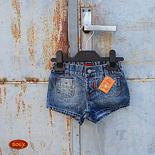 Detské oblečenie - sleva - unisex riflové kraťasy pod zadek  - 86, 98, 104, 116 - 5658567_