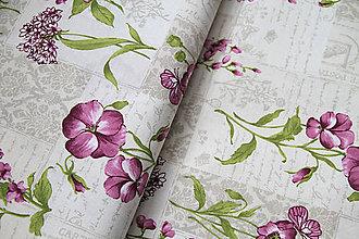 """Textil - Dekoračná látka """"fialové kvety"""" - 5658673_"""