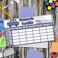 Detské doplnky - Rozvrh hodín - autíčko - 5660926_