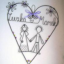 Dekorácie - svadobné fialkové s menami 20cm - 5662264_