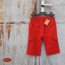 Detské oblečenie - SLEVA dívčí plátěné kalhoty červené 80 - 5661921_