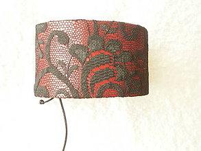 Náramky - Náramok koženo-textilný, čipka čierna - 5661317_