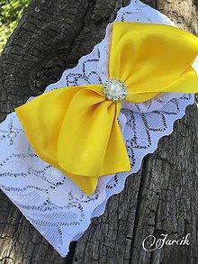 Bielizeň/Plavky - Svadobný podväzok {Yellow-white} - 5663887_