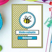 Papiernictvo - Pohľadnica Detské mini (Detské mini - včielka) - 5664414_