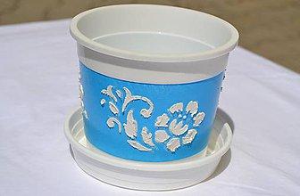 Nádoby - Kvetináč tyrkysovo-modrý 13x10,5cm - 5666841_