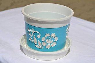 Nádoby - Kvetináč azúrovo-modrý 13 x 10,5 cm - 5666853_