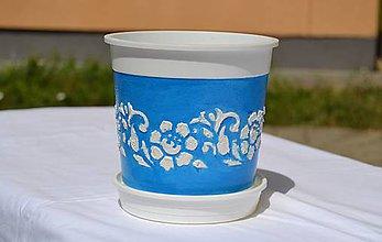 Nádoby - Kvetináč tyrkysovo-modrý 15x14,5cm - 5666867_