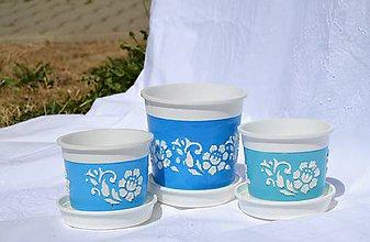 Nádoby - SADA 3 kvetináčov v 3 odtieňoch modrej - 5666893_