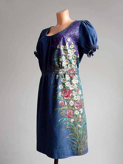 417427dcf Riflové šaty s květinami vel.46/XXL / Anibe - SAShE.sk - Handmade Šaty