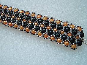Náramky - Oranžovo-čierny náramok. - 5666334_