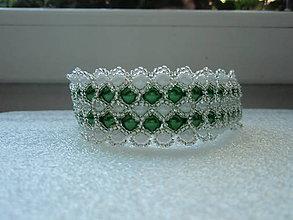 Náramky - Zeleno- biely náramok. - 5666656_