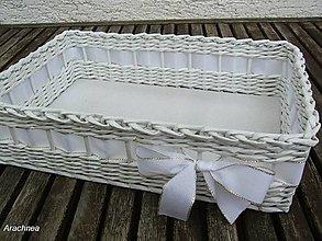 Dekorácie - Svadobný košíček 30x22x9 cm (biely s lurexom) - 5669538_